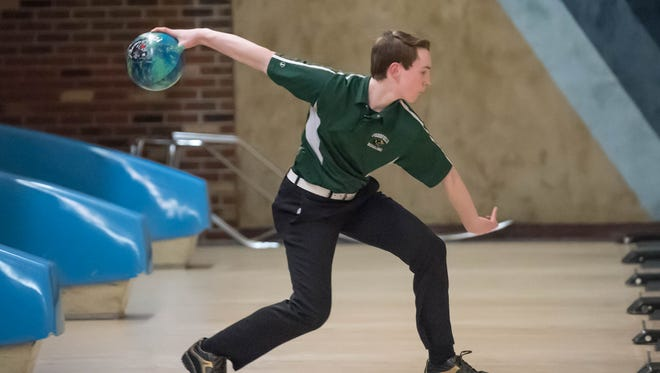 Pennfield sophomore James Ruoff during the All City Bowling Match at M-66 Bowl on Wednesday.