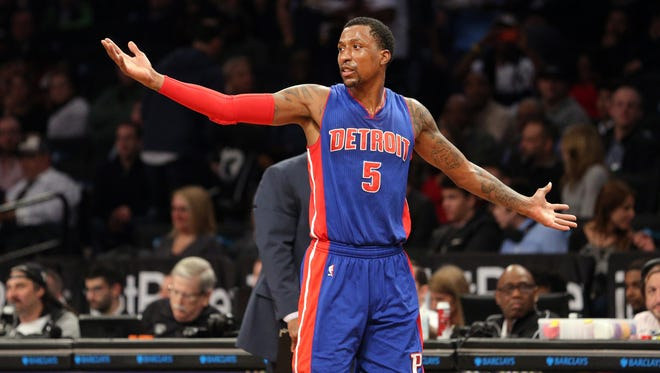 Pistons shooting guard Kentavious Caldwell-Pope (5) reacts after being called for a technical foul during the third quarter of the Pistons' 98-96 loss Tuesday in Brooklyn, N.Y.