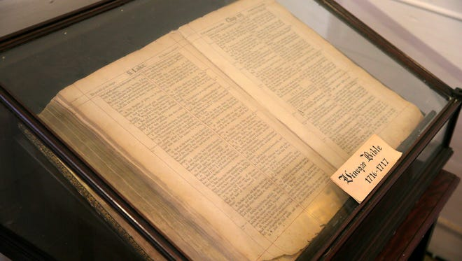 """A 300-year-old """"Vinegar"""" Bible, the rarest and most valuable Bible at the Jersey Shore, is displayed at Christ Episcopal Church in Shrewsbury."""