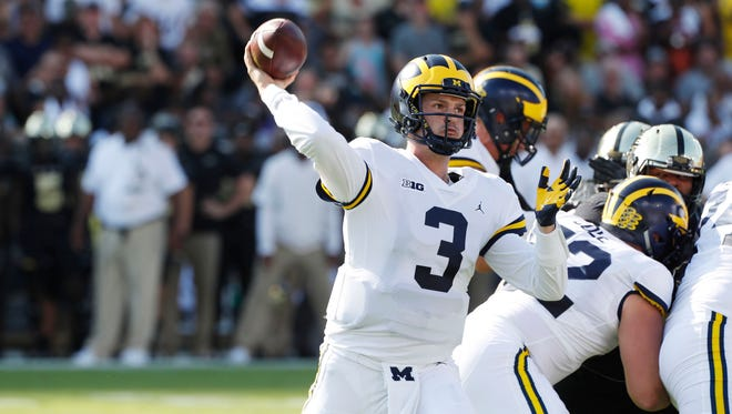 Sep 23, 2017; West Lafayette, IN, USA; Michigan quarterback Wilton Speight throws a pass in the first quarter against Purdue at Ross-Ade Stadium..