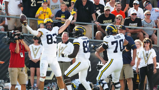 Sep 23, 2017; West Lafayette, IN, USA; Michigan tight end Zach Gentry (83) celebrates his 12-yard touchdown catch in the second quarter against Purdue at Ross-Ade Stadium.