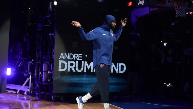 Andre Drummond is introduced before the Detroit Pistons' home opener against the Charlotte Hornets at Little Caesars Arena in Detroit, Wednesday, Oct. 18, 2017.
