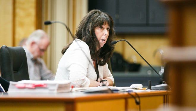 Bi-Mart Willamette Country Music Festival President Anne Hankins speaks at a hearing concerning a conditional use permit for the festival on Wednesday, Dec. 20, 2017, at Courthouse Square in Downtown Salem. The music festival, scheduled for August 2018, wants to move from their venue in Brownsville to an area near Jefferson and the Ankeny National Wildlife Refuge.