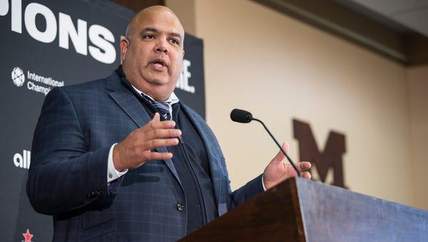 Michigan athletics director Warde Manuel speaks...
