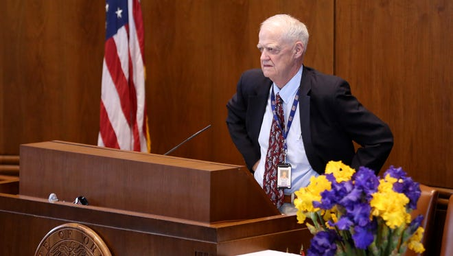 Senate President Peter Courtney opens the Oregon Legislature special session at the Oregon State Capitol in Salem on Monday, May 21, 2018.