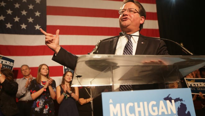 Gary Peters speaks after winning the U.S. Senate seat for Michigan at the Michigan Democratic election night party at MGM Grand in Detroit on Tuesday, Nov. 4, 2014.