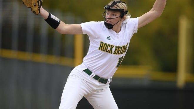 Rock Bridge's Ella Schouten delivers to the plate during a Class 4 quarterfinal game last season.
