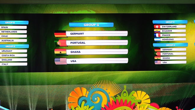 Group G is displayed at the World Cup draw.