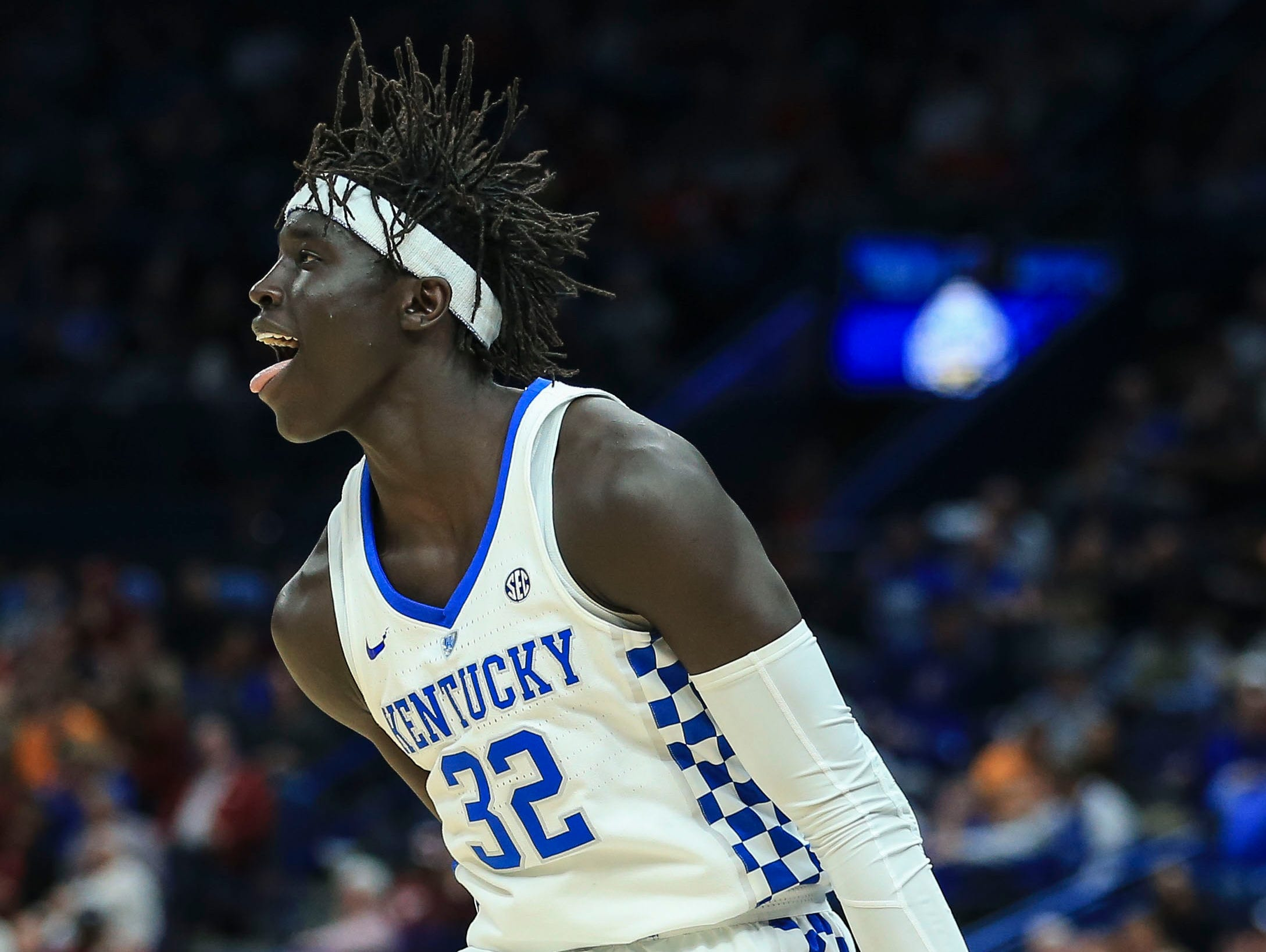 Kentucky's Wenyen Gabrial hit seven-for-seven three point shots against Alabama during Saturday's semifinal SEC Tournament game in St. Louis. He finished with career-high 23 points. March 10, 2018