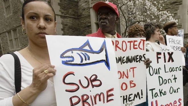 Demonstrators in Philadelphia in 2008.