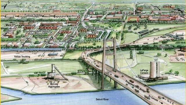 A rendering of the Gordie Howe Bridge