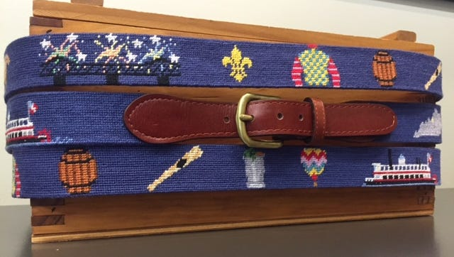 """The Fashion Post is offering an exclusive """"Louisville"""" men's needlepoint belt made by Smathers & Branson."""