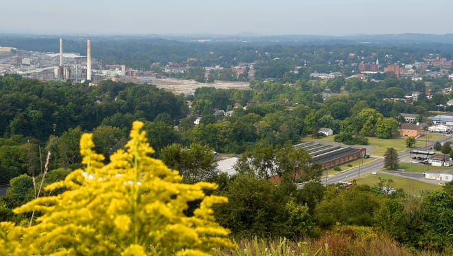 A view of Waynesboro as seen from the top of the future Sunset Park, being developed on the site of the city's old municipal landfill which closed in 2005. Photo was taken on Wednesday, Sept. 21, 2016.