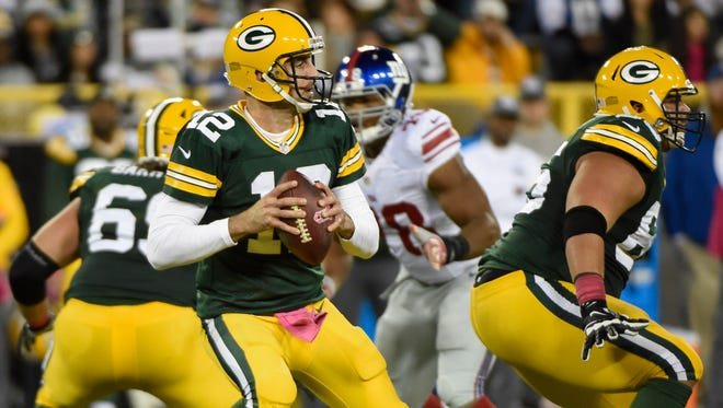 Packers QB Aaron Rodgers was picked off twice by the Giants in Week 5.