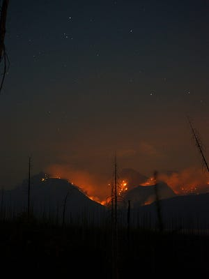 View of Sprague Fire burning the area of Sperry Chalet. The 1913 building was lost Thursday evening.