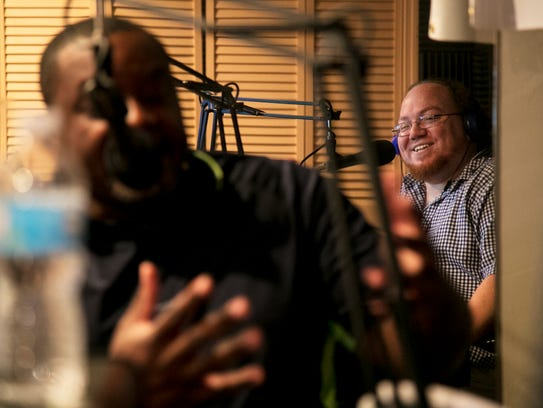 Jay Green, right, of STAR-FM interviews Fort Myers