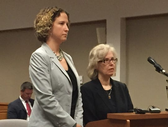 Corinne Miller, right, appeared in 67th District Court