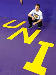 Max Thomsen photographed during Northern Iowa wrestling