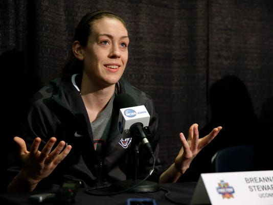 Connecticut's Breanna Stewart responds to question during a news conference at the women's Final Four in the NCAA college basketball tournament Monday, April 4, 2016, in Indianapolis. Connecticut will play Syracuse in the championship game on Tuesday. (AP Photo/Michael Conroy)