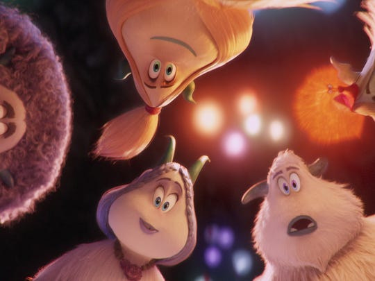"(Clockwise from left) Gwangi (LeBron James), Kolka (Gina Rodriguez), Fleem (Ely Henry), Migo Channing Tatum) and Meechee (Zendaya) in the animated adventure ""Smallfoot."""