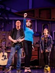 "Paul  Whitty,  Marilu  Henner  and  Sawyer  Nunes in ""Gettin' The Band Back Together"" on Broadway."
