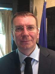 Latvian Foreign Minister Edgars Rinkevics, during a