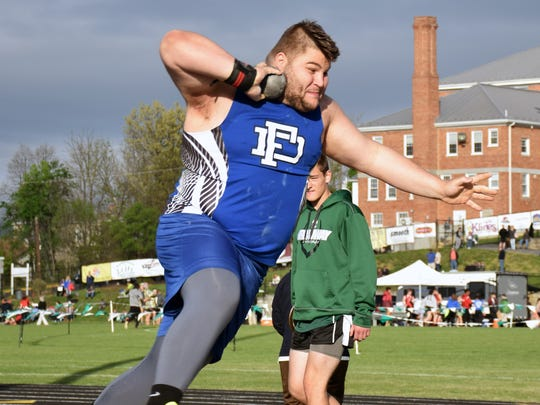 Fort Defiance's Zach Boyers crept closer to the 60-foot plateau in the shot put with a heave of 59 feet, 3 inches, in a quad meet at Broadway High School on May 10.