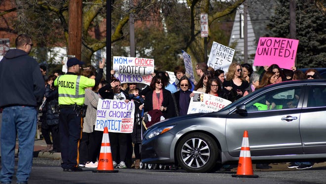 Marchers during the gathering in front of Pequannock Town Hall along Newark Pompton Turnpike.