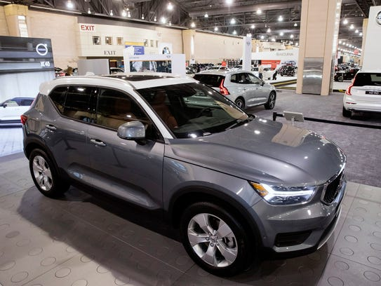 A Volvo XC40 sits on display during a press preview