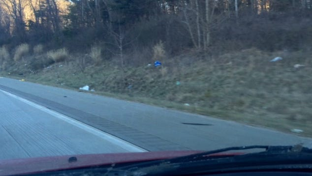 Roadside litter is a common site along Interstate 26 east of Asheville.