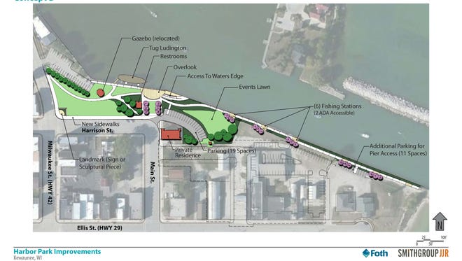 Preliminary plans for the redesign of Harbor Park as part of the Kewaunee Harbor revitalization project include moving the gazebo and, adding an overlook, sidewalks and fishing stations.