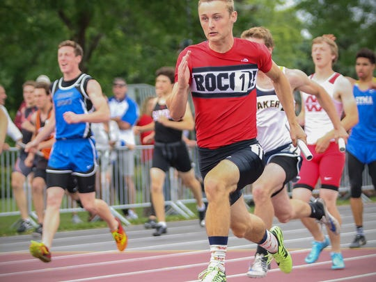 Rocori's Jack Young anchors the 4x100 relay during