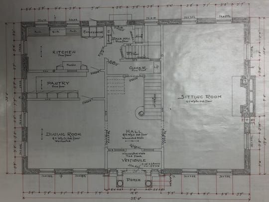 The original design by architect William Waters for the first floor of the Schriber House, which is moving from 1428 Algoma Blvd. to the corner of Algoma Boulevard and Arboretum Drive at the end of May. The blueprints are in a collection at the Oshkosh Public Museum.