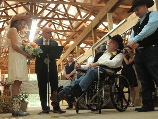 The wedding of Frances Underwood and Floyd Pepper inside