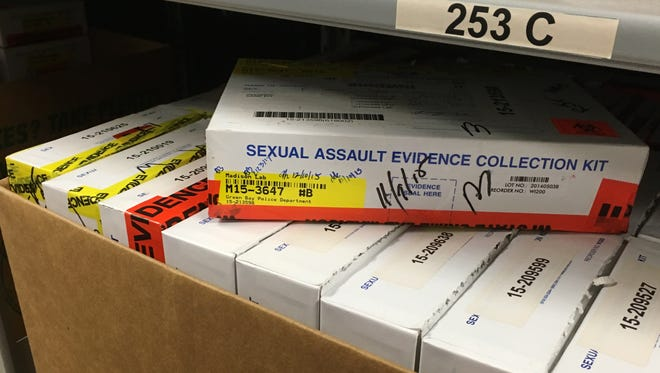 Evidence in rape cases is stored, about 60 kits to the carton, at the Green Bay Police Department,