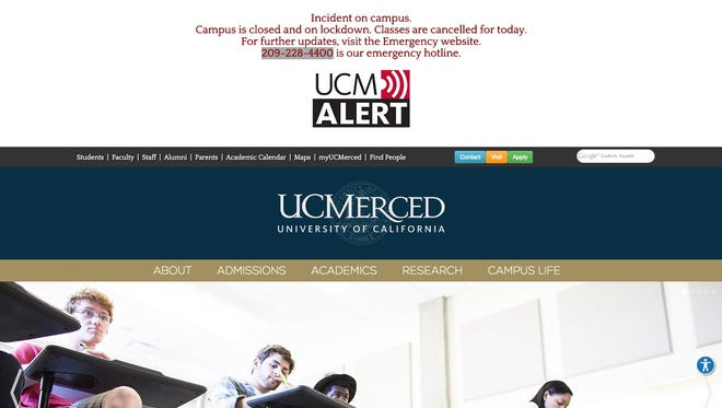 A screenshot of The University of California Merced website.