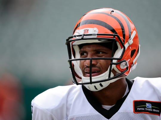 Cincinnati Bengals wide receiver James Wright (86) huddles up during training camp at Paul Brown Stadium.