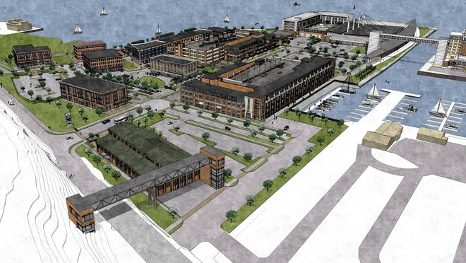 This is an architect's rendering of a concept or development of the former GAF property on Erie's bayfront.