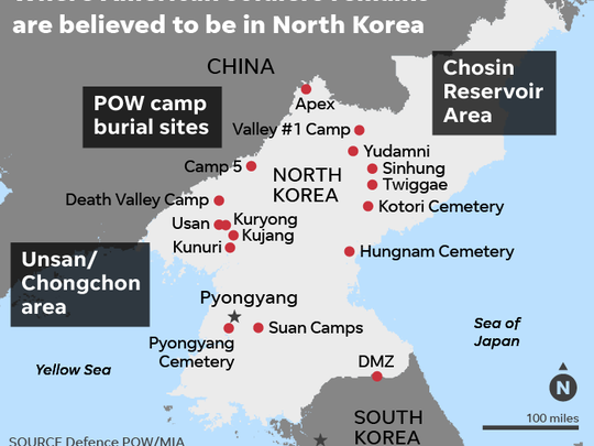 Map shows locations in North Korea where American soldiers remains are believed to be.