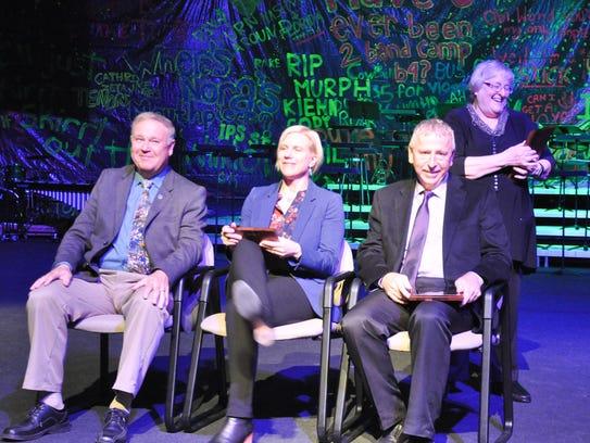 Litchfield school board member Marcia Provencher awards