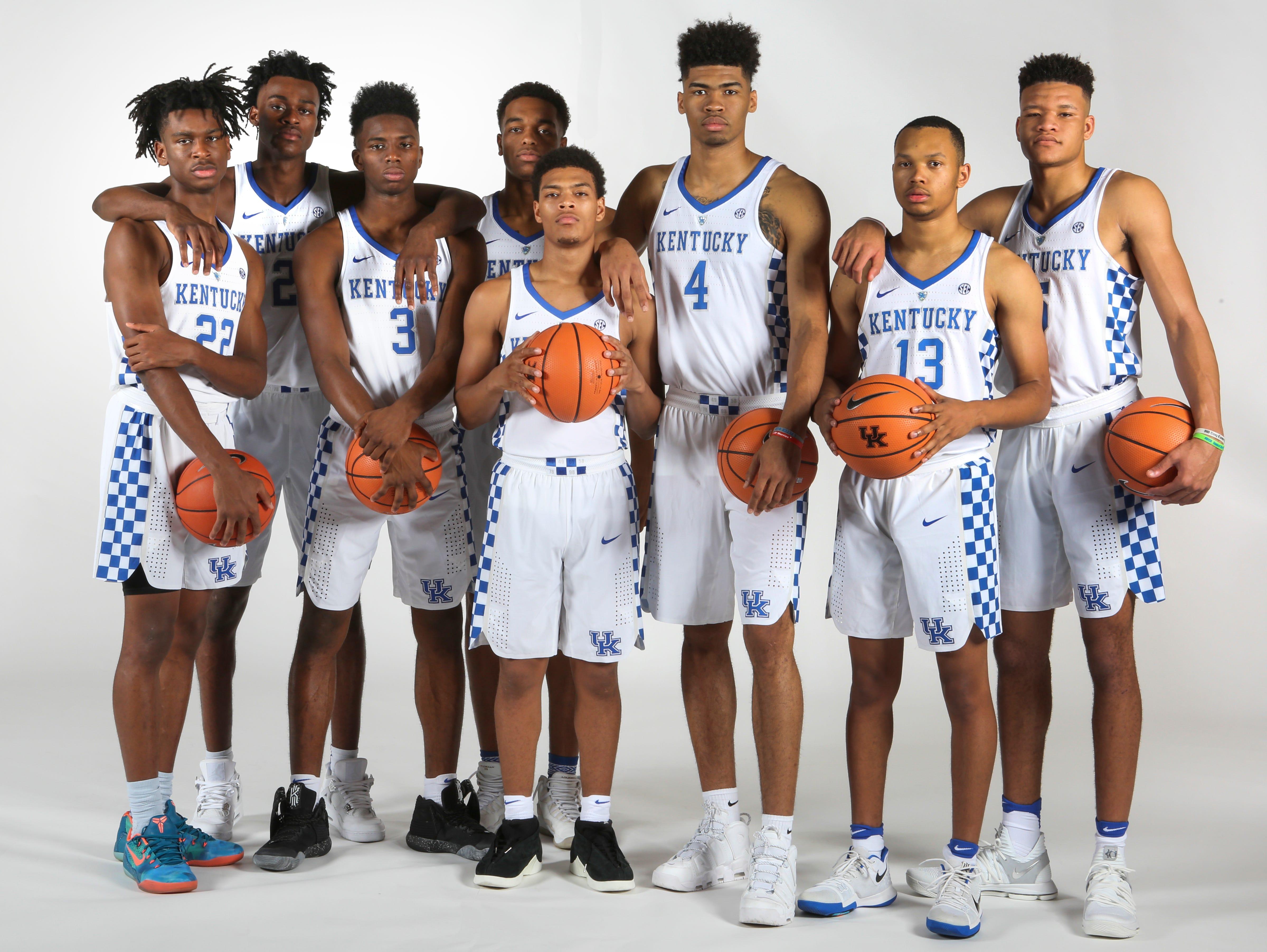 Kentucky freshmen Shai Gilgeous-Alexander, Jarred Vanderbilt, Hamidou Diallo, P.J. Washington, Quade Green, Nick Richards, Jemarl Baker, and Kevin Knox. September 18, 2017