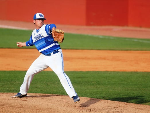 Simon Kenton pitcher Sean Lawrence throws to St. Xavier.