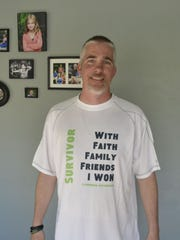Chuck Spang will wear this specially designed Survivor shirt when he runs the full marathon in the 17th annual Cellcom Green Bay Marathon on Sunday, May 22, 2016. The race comes one year after Spang, a De Pere resident, was diagnosed with stage IV non-Hodgkin's lymphoma. The cancer has been in remission since December.