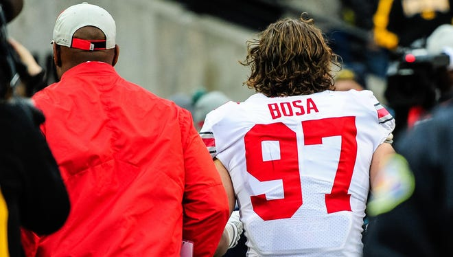 Ohio State defensive end Nick Bosa, ejected for targeting in the first half at Iowa, was lucky he didn't have to stick around to the bitter end.