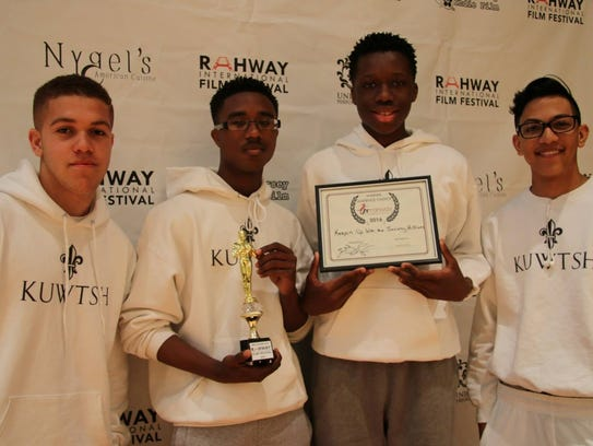 """""""Audience Choice"""" winners, the student filmmakers and"""
