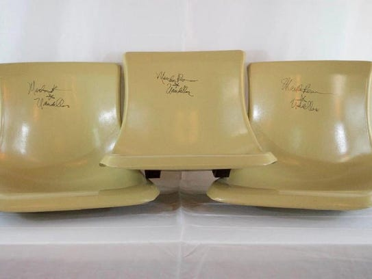 Brunswick bowling alley seats signed by Martha Reeves.