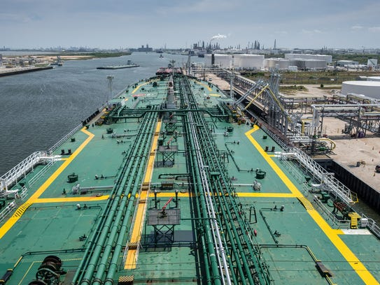 The cargo ship Astra Majuro is loaded with crude at the Port of Corpus Christi on April 6, 2018.