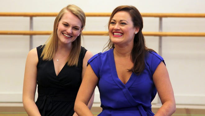 "In this Sept. 2, 2015 photo,  Kerstin Anderson, who will portray Maria, left, and Ashley Brown, who will portray Mother Abbess, appear during a press day for the national tour of ""The Sound of Music,"" in New York. The production will travel to Boise, Idaho from Sept. 14-15, before heading to Los Angeles from Sept. 20 - Oct. 31. (AP Photo/Mark Kennedy)"