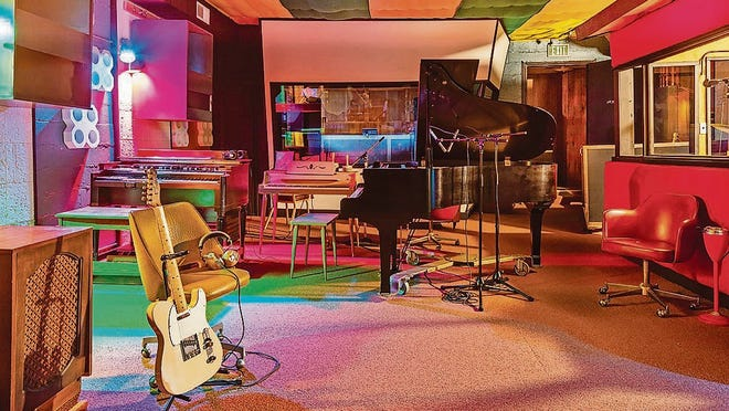 The 1970s retro look of the renovated interior of the Muscle Shoals Sound Studio.