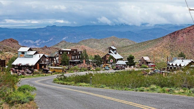 Historic buildings in the ghost town of Nelson, Nevada.